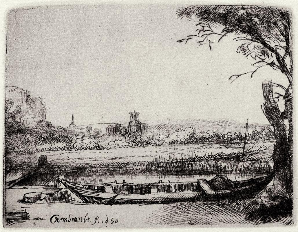 Rembrandt Harmenszoon van Rijn. Landscape with boat