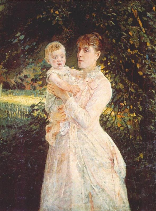 Николай Николаевич Ге. Портрет Екатерины Ге, невестки художника, с сыном
