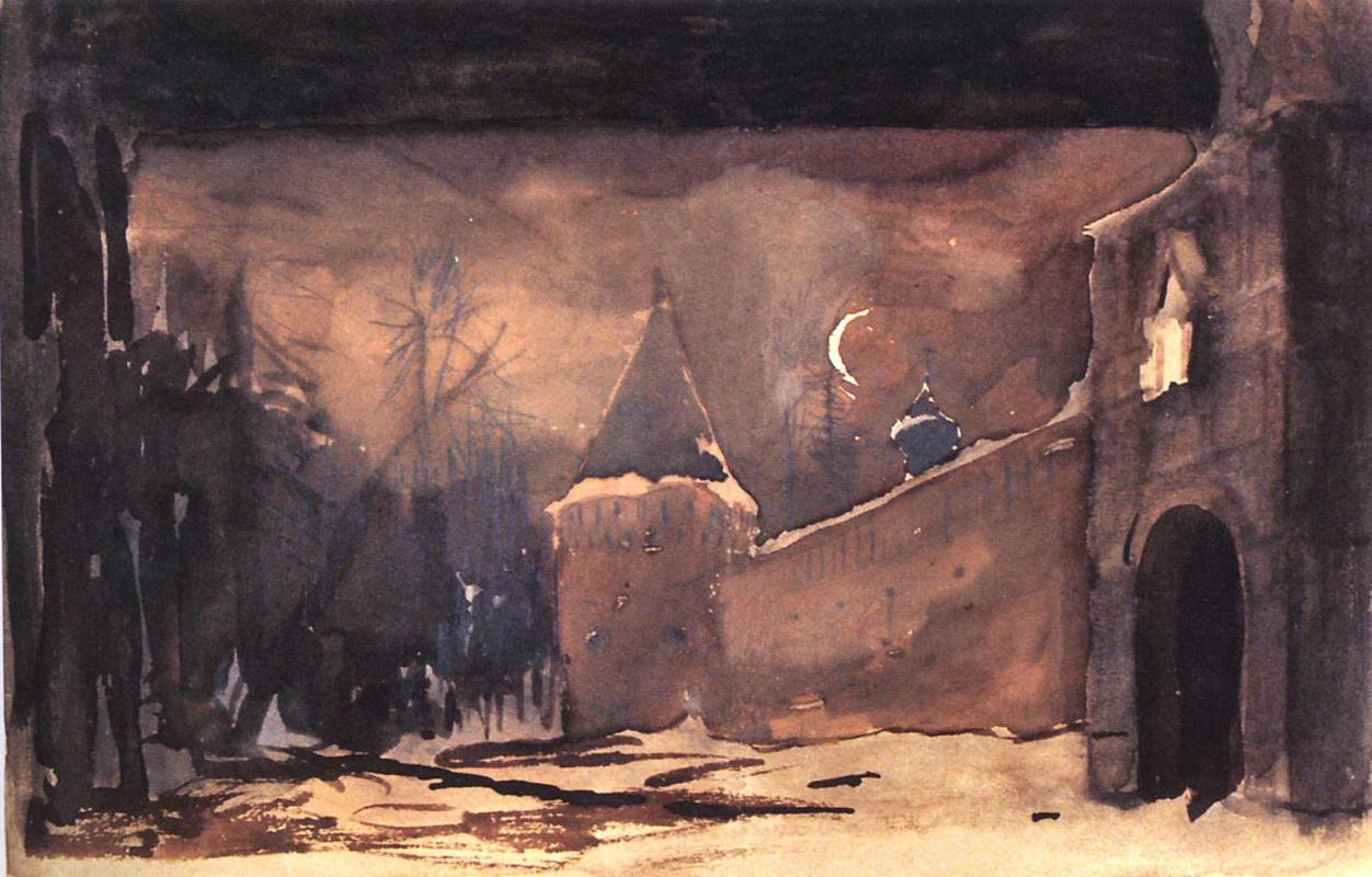 """Исаак Ильич Левитан. Монастырские стены и ворота. Эскиз декорации к опере М.И.Глинки """"Жизнь за царя"""""""