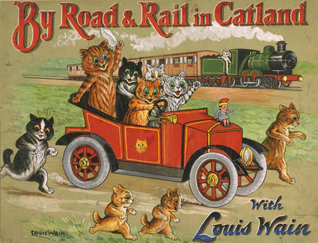 "Louis Wain. ""On the Roads of Catland with Louis Wayne"", cover picture"