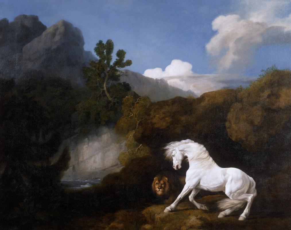 Джордж Стаббс. Конь, испуганный львом