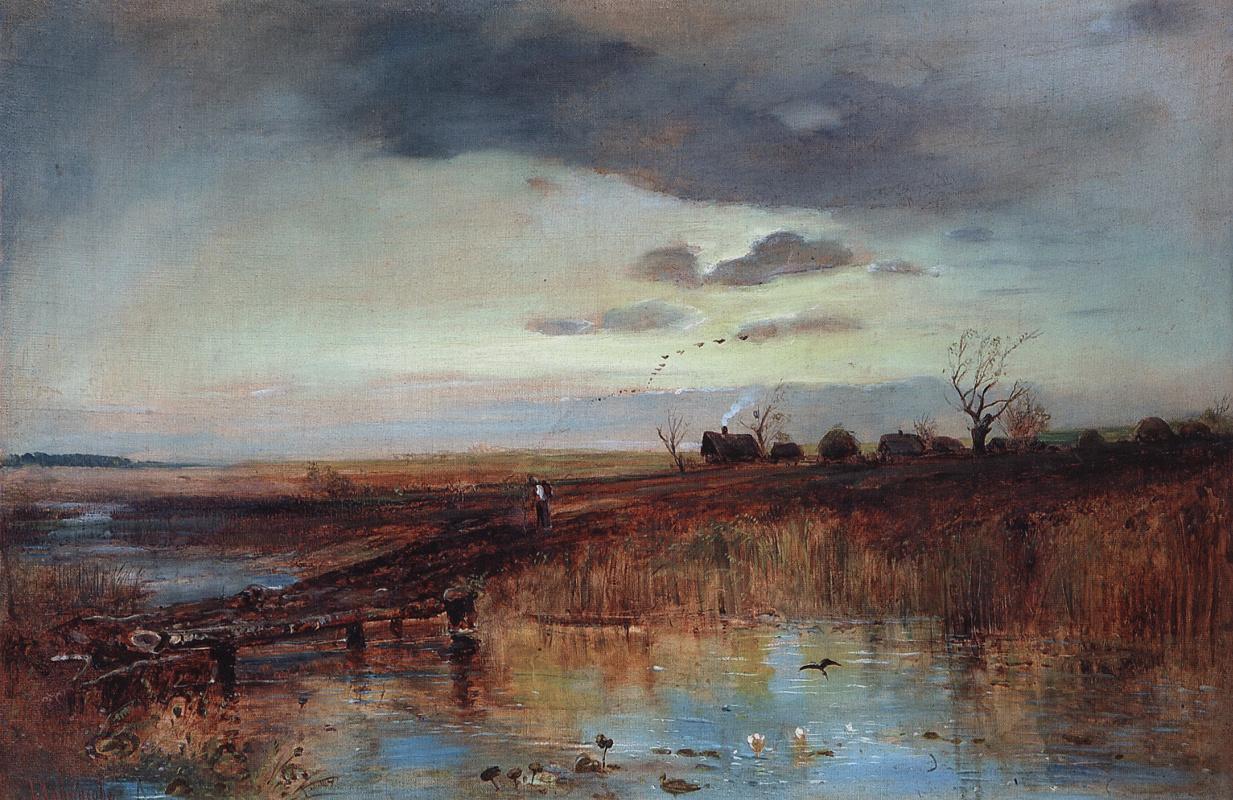 Alexey Savrasov. Autumn. Village by the Creek