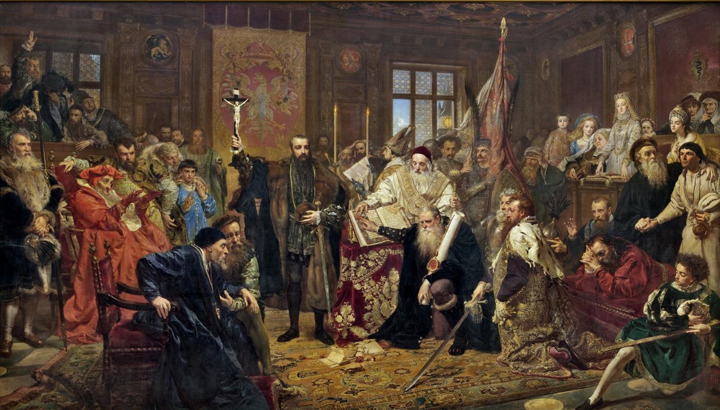 Ян Матейко. Подписание Люблинского союза между Королевством Польши и Великим княжеством Литовским (Люблинская или Брестская уния)