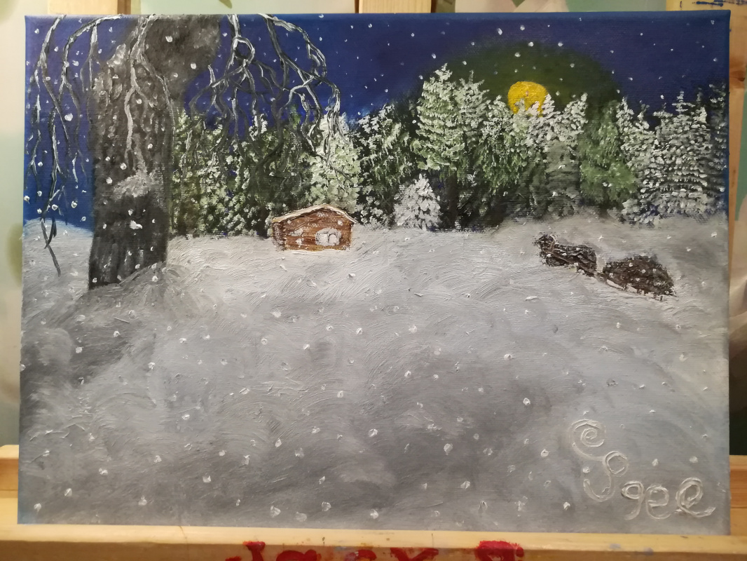 Jack Pigel. Картина зима под луной