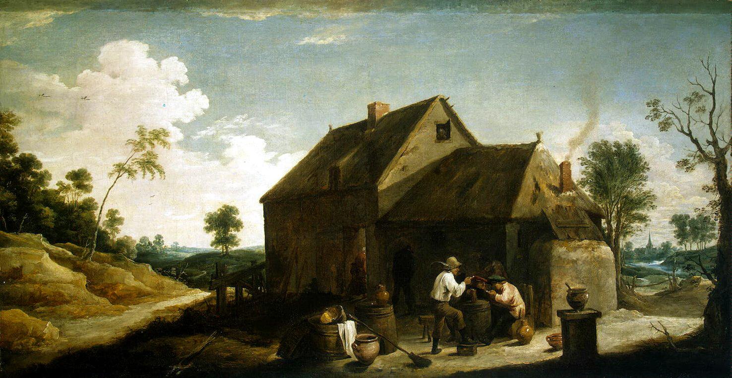 Давид Тенирс Младший. Пейзаж с крестьянами перед кабачком