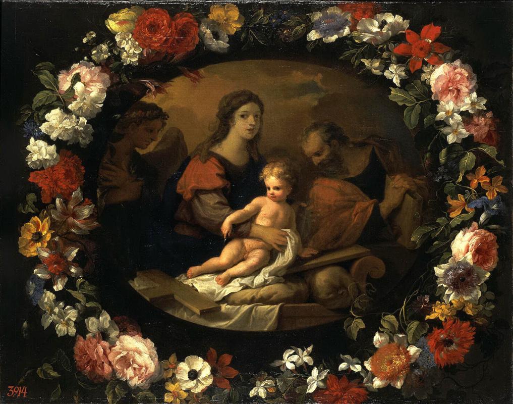Жан-Батист Луар. Святое Семейство в венке из цветов
