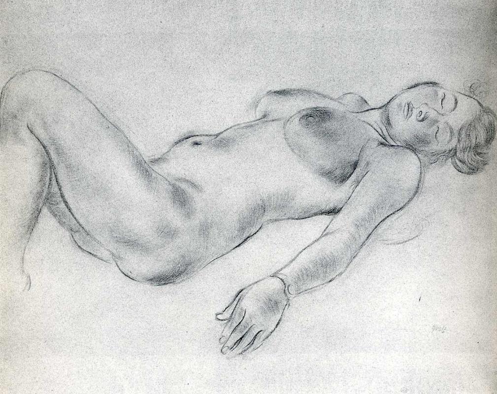 Георг Гросс. Лежащая обнаженная женщина