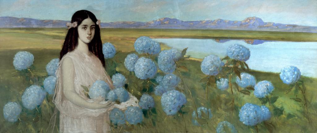 Alfredo Ramos Martinez. Landscape with a girl and hydrangeas
