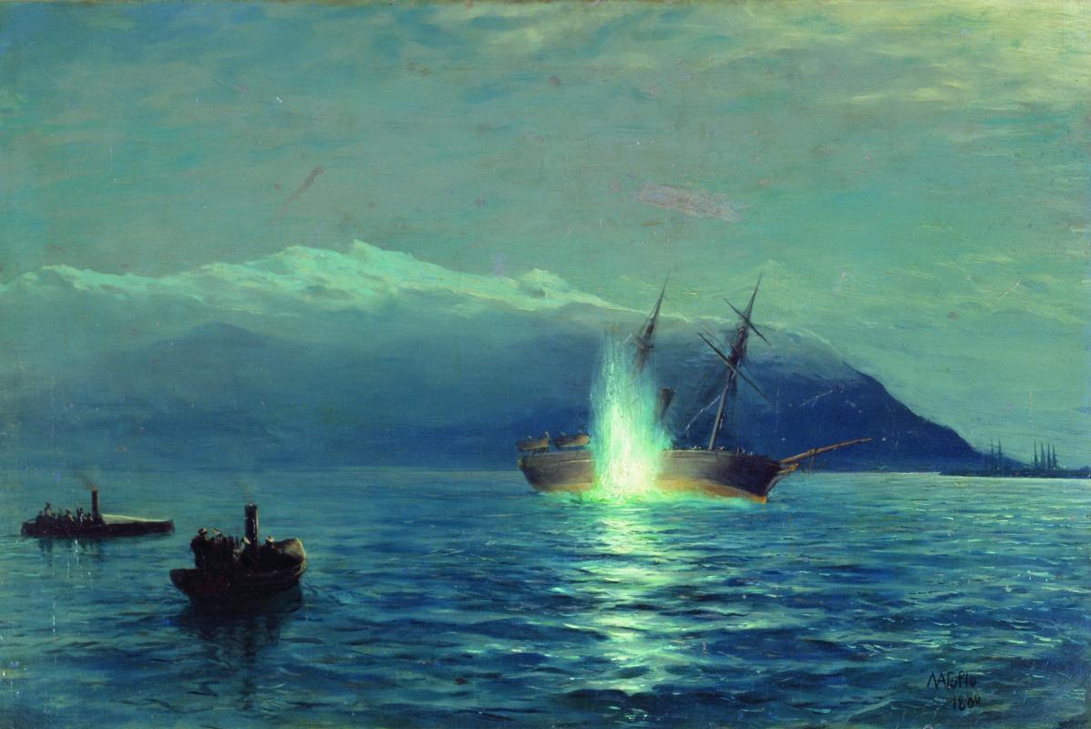 "Lev Feliksovich Lagorio. The sinking of the boats of the steamer ""Grand Duke Constantine"" Turkish ship ""Intibah"" on the Batumi RAID on the night of 14 Jan 1878"