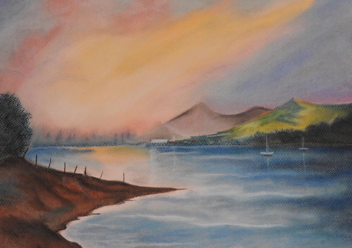 Olga Nadtochaeva. Morning at the lake