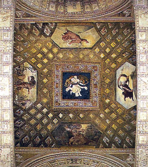 Raphael Sanzio. The creation of the world. The painting of the ceiling of the Raphael loggias of the Palace of the Pope in the Vatican