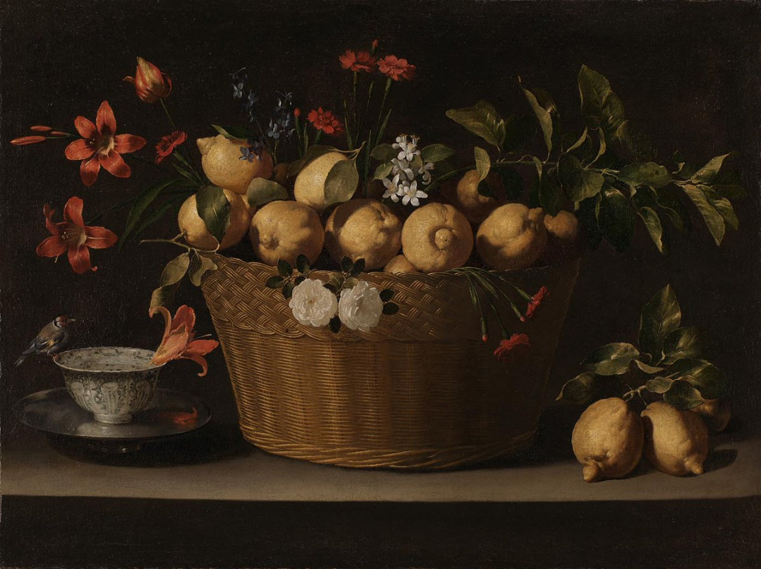 Juan de Zurbaran. Still Life with Lemons in a Wicker Basket
