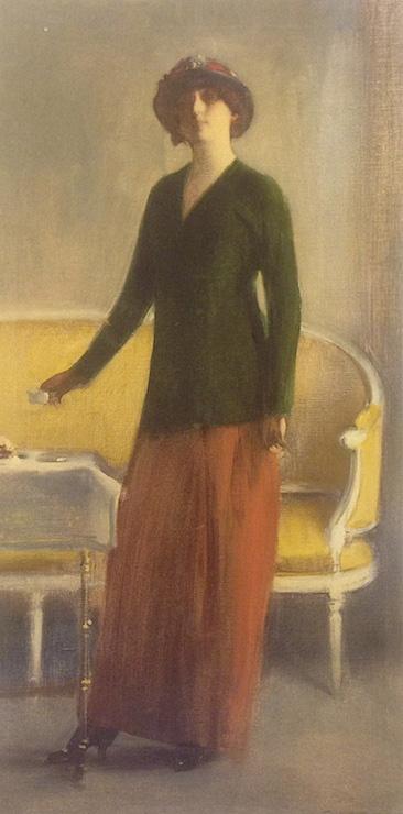 Рамон Касас Карбо. Женщина у стола с чашкой шоколада