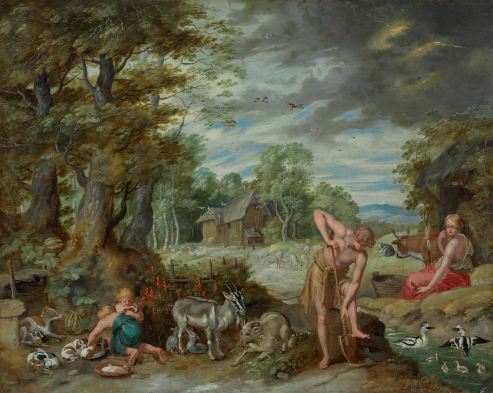 Jan Brueghel the Younger. The Story of Adam and Eve: Adam Works in the Field