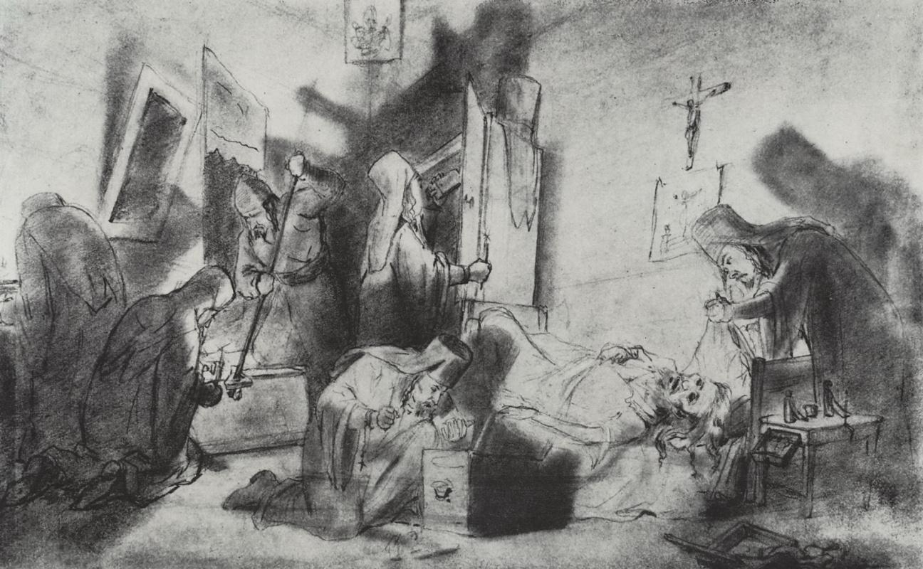 Василий Григорьевич Перов. Делёж наследства в монастыре (Смерть монаха)