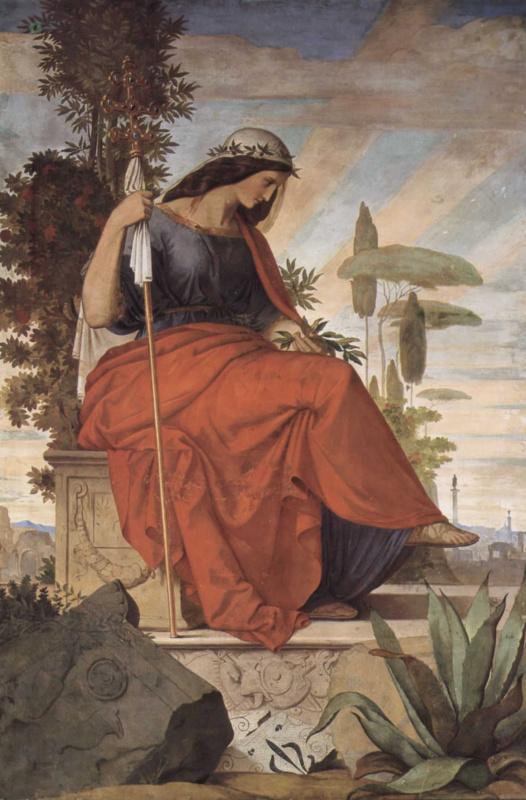 Филипп Фейт. Настенная роспись из старого Штеделевского института, левая часть: Аллегорическая фигура Италии