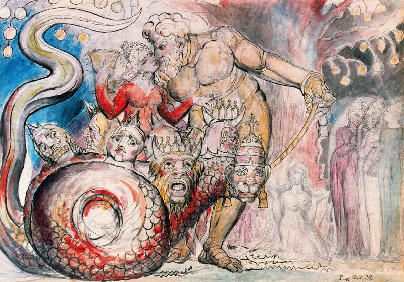 "William Blake. Harlot Giant. Illustrations for ""the divine Comedy"""