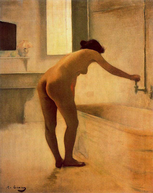 Рамон Касас Карбо. Обнаженная набирает ванную