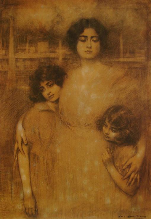 Рамон Касас Карбо. Женщина с двумя детьми. Эскиз для плаката