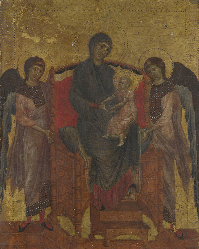 Chimabue (Chenny Di Pepo). Mother of God with a baby and two angels 1280, 25.6×20.8 cm