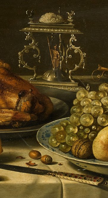 Pieter Claesz. Still life with roast chicken, fruit, salt and a jug. Fragment 1