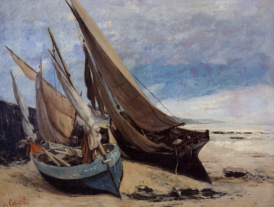 Гюстав Курбе. Рыбацкие лодки на пляже Довиля