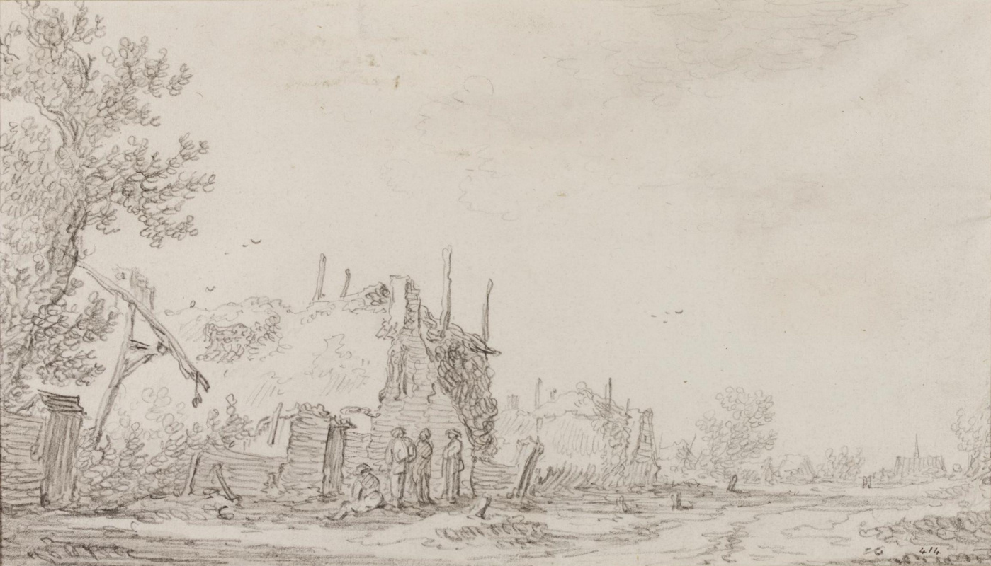 Jan van Goyen. Peasants conversing in front of the Lodge