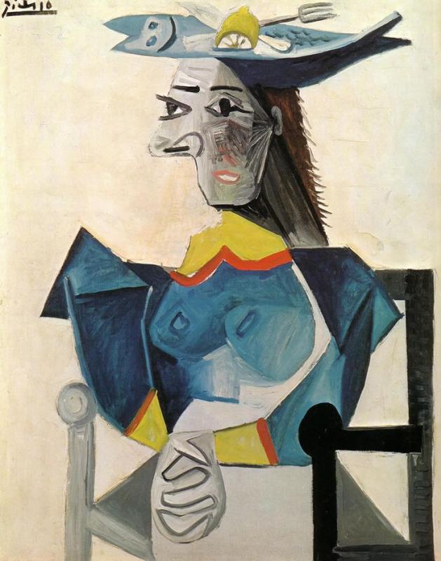 Пабло Пикассо. Женщина в шляпе в виде рыбы