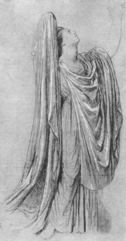 Jean Auguste Dominique Ingres. Study of a model in the drapery for the allegorical figure of France