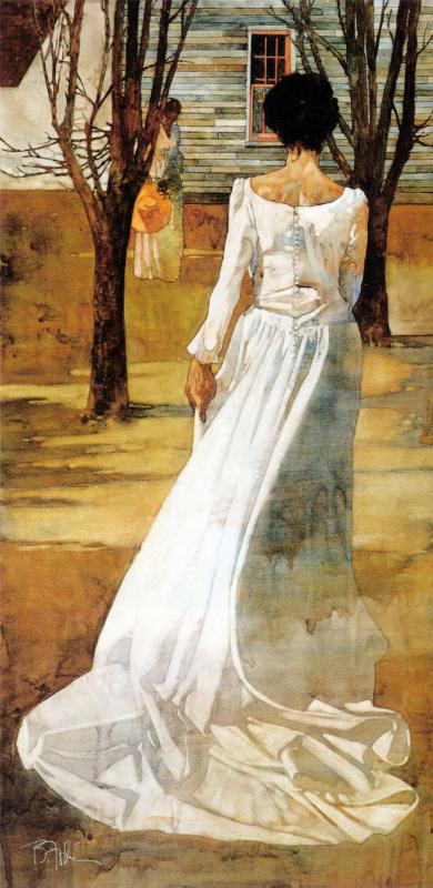 Барт Форбес. Прогулка девушки в белом платье