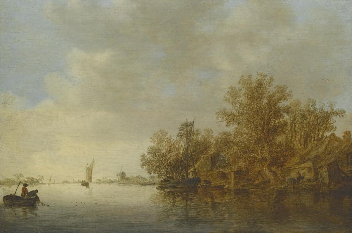 Jan van Goyen. River landscape with two fishermen in a boat, they hauled in the net