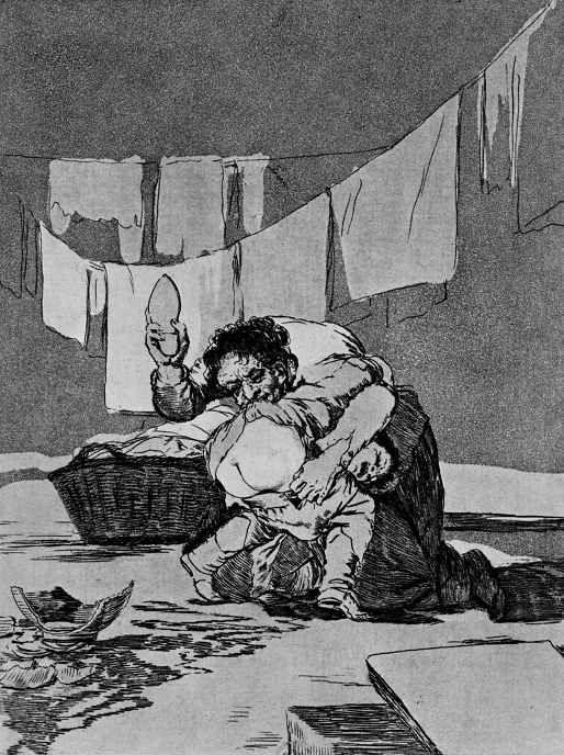 """Франсиско Гойя. """"Ведь он разбил кувшин. Кто из них хуже?"""" (Серия """"Капричос"""", страница  25)"""