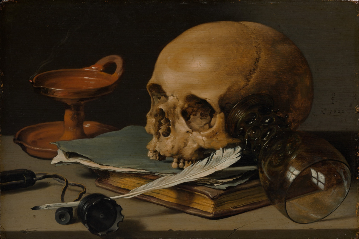 Pieter Claesz. Still Life with a Skull and a Writing Quill