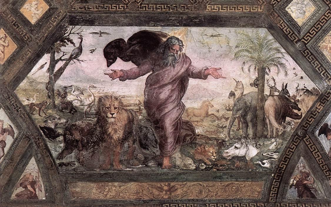 Рафаэль Санти. Сотворение животных. Фреска лоджии Рафаэля Ватиканского дворца
