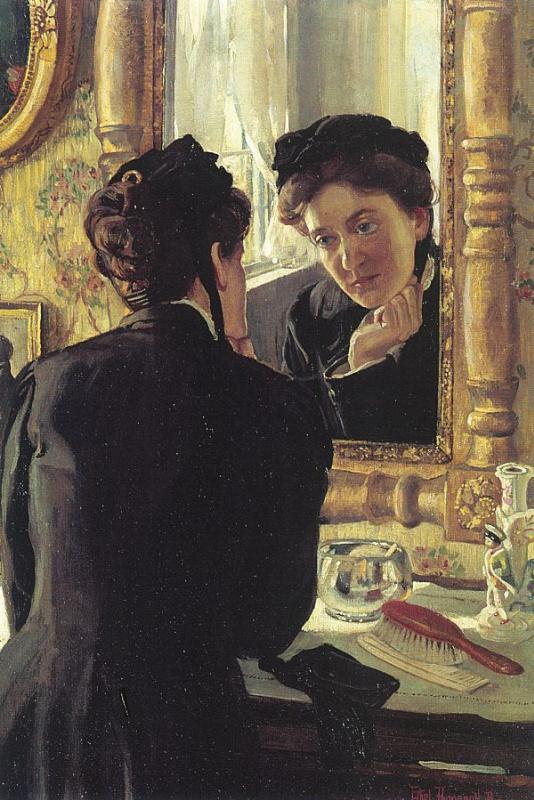 Выщелачивание. Женщина в черном у зеркала
