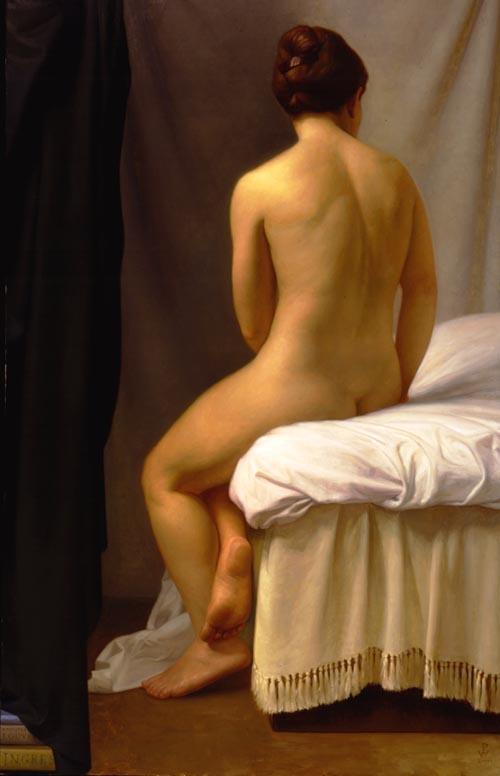 Патриция Уотвуд. Сидящая на кровати обнаженная