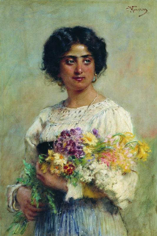 Konstantin Makovsky. Girl with a bouquet (Portrait of a Serbian)