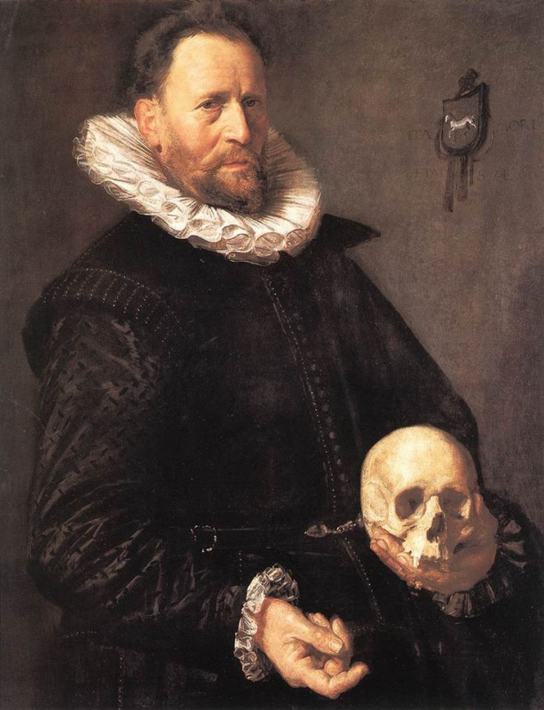 Frans Hals. Portrait of a man with a skull