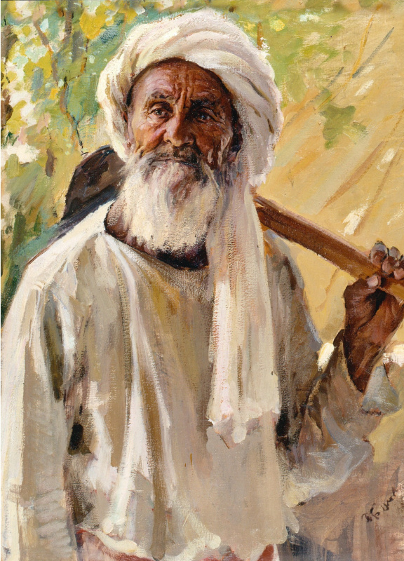 Portrait of a collective farmer-drummer