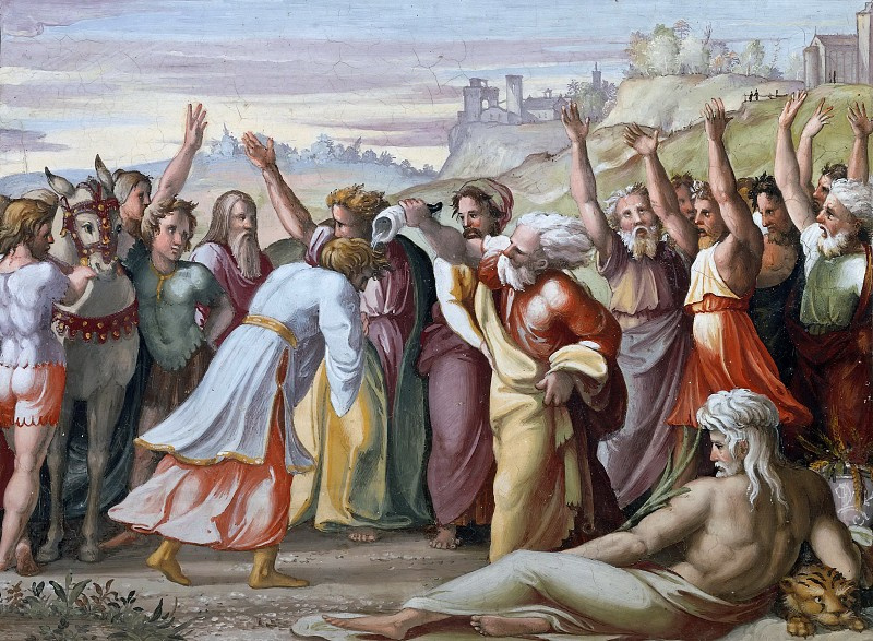 Raphael Sanzio. The Anointing Of Solomon By Zadok. The fresco of Raphael loggias of the Palace of the Pope in the Vatican