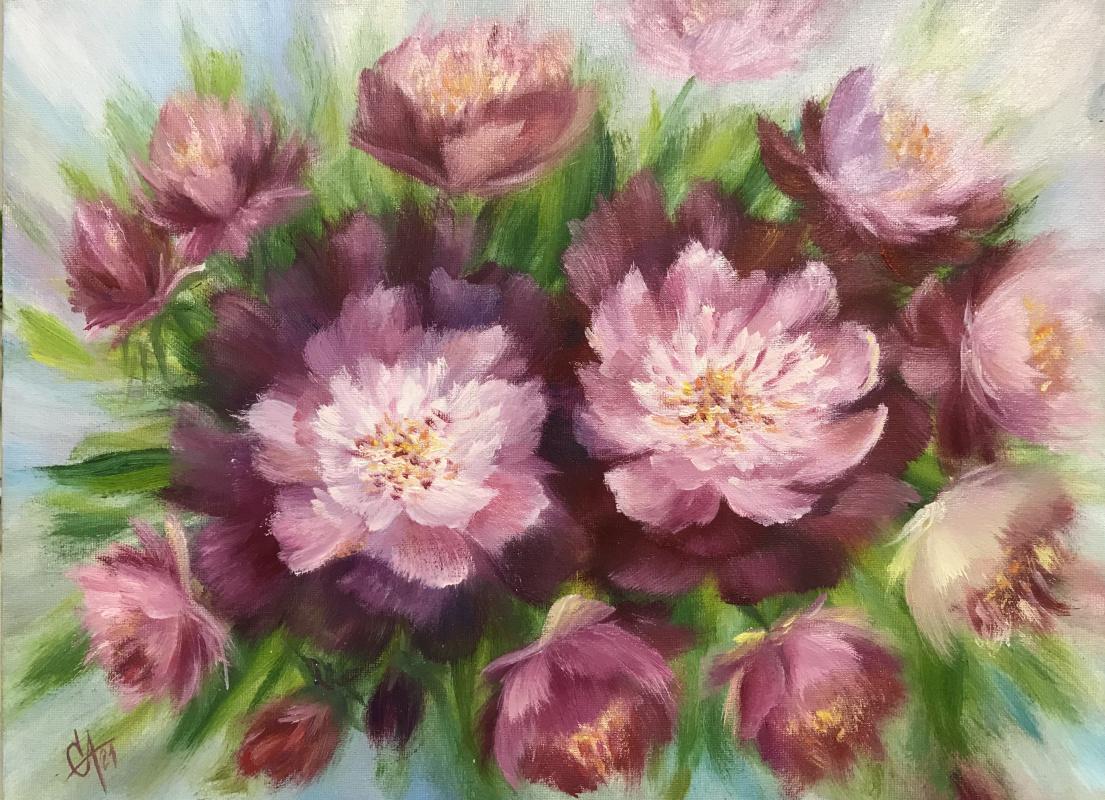 Svetlana Arkhipova. Bouquet of burgundy peonies
