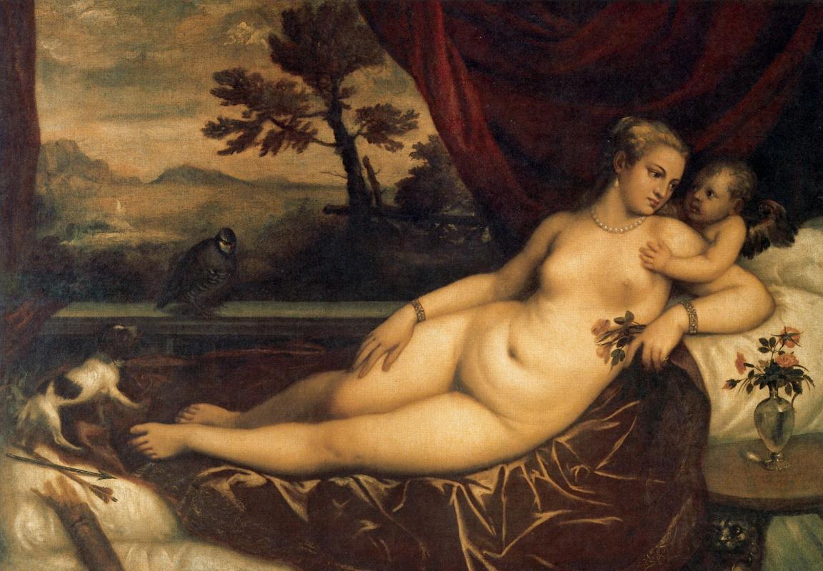 Тициан Вечеллио. Венера и Купидон