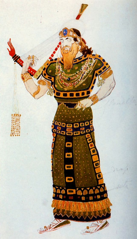 "Lev (Leon) Bakst. Sketch for the costume of a Syrian harpist for the ballet ""Cleopatra"""