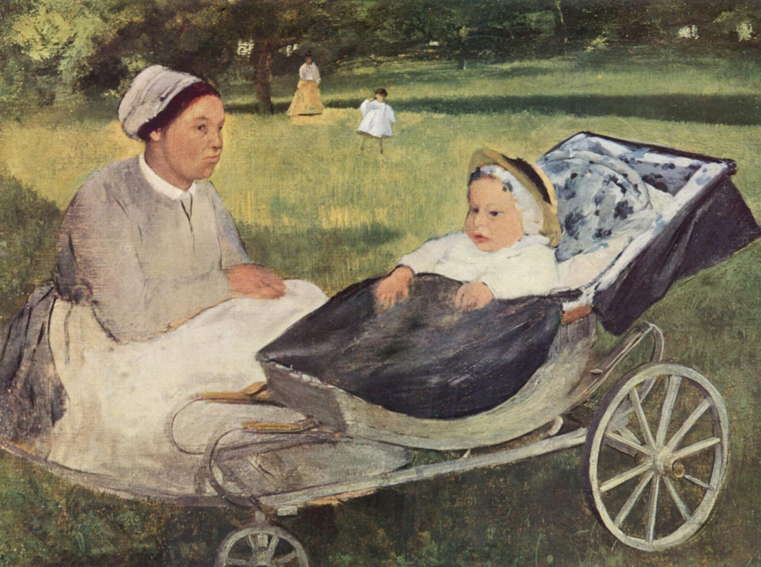 Edgar Degas. A child with a governess. Portrait of Henri Valpincon in infancy