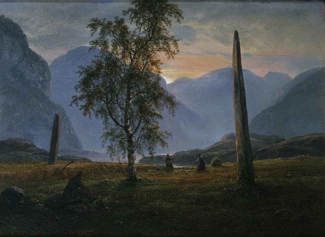 Johan Christian Klausen Dahl. Сенокос в Норнесе