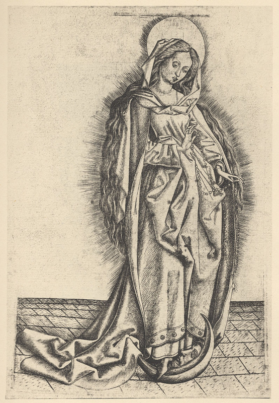 Master E.S.. The Madonna of the rosary, standing on a Crescent moon