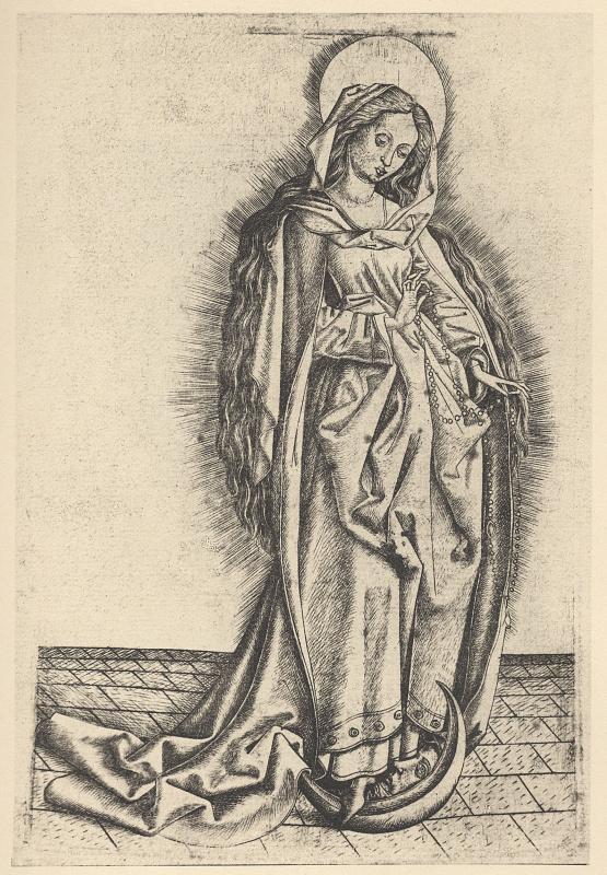 Мастер  Е. С.. Мадонна Розария, стоящая на полумесяце
