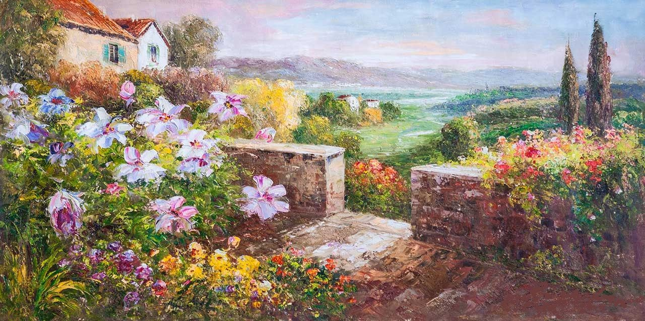 """Andrzej Vlodarczyk. Mediterranean landscape oil painting """"In the land of the sun and flowers N3. AV version"""""""