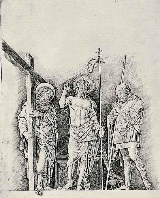 Андреа Мантенья. Воскресший Христос между святым Андреем и святым Лонгином