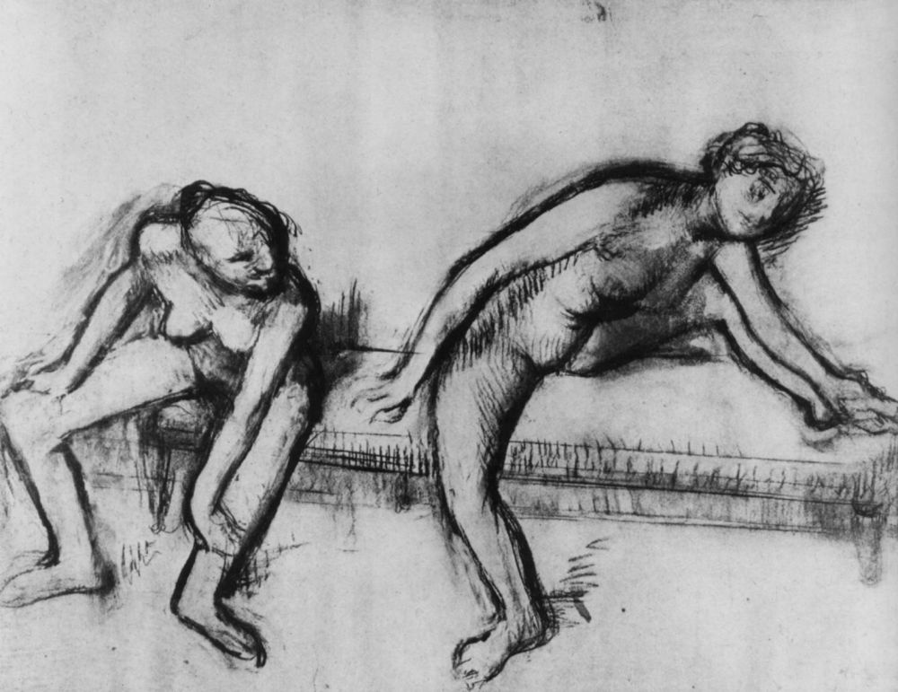 Эдгар Дега. Две обнаженные балерины на скамейке